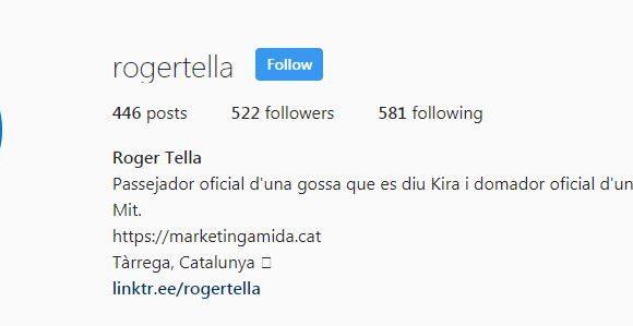 bio de rogertella en instagram