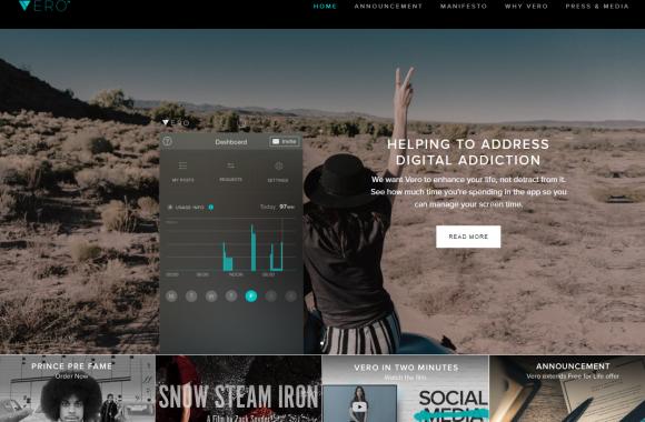 página en desktop de Vero